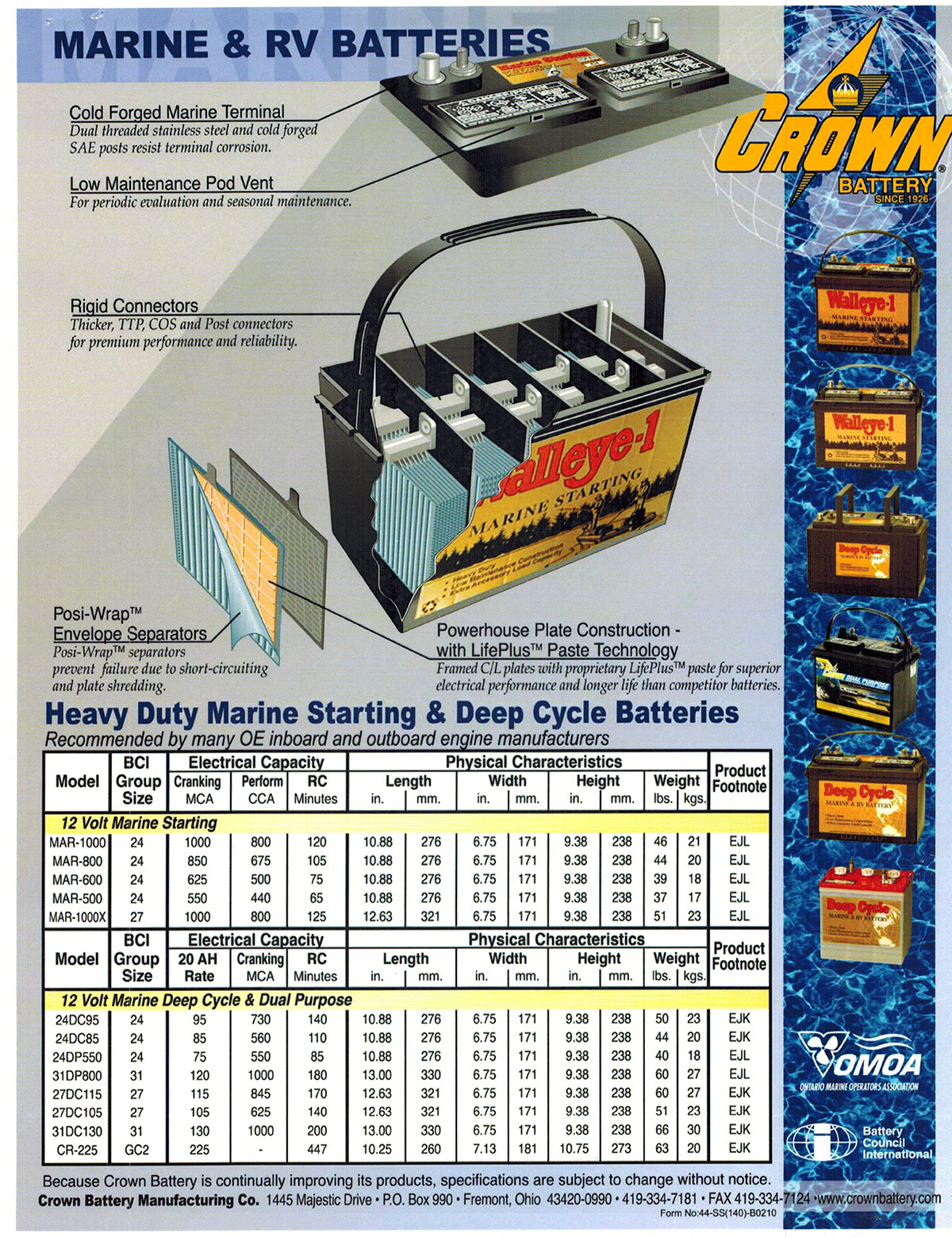 Crown battery walleye g24 800 cca starting marine outfitters crown battery walleye g24 800 cca starting marine outfitters ontario canada nvjuhfo Images